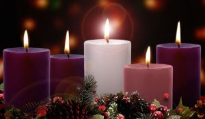 Advent wreath al candles let