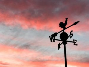 weather vane at sunset