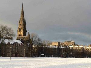 Snowy Edinburgh skyline